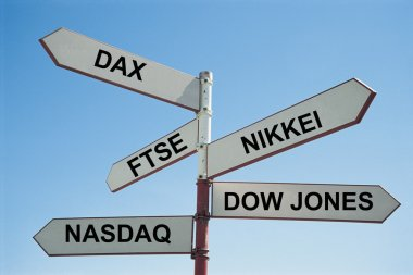 Sign post with various stock exchanges