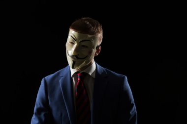 Businessman under anonymous mask