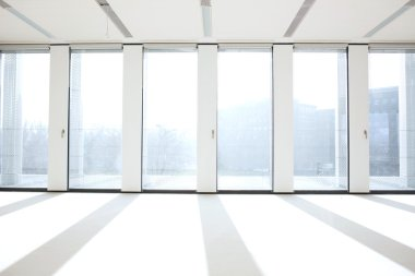 Windows in lobby of office building