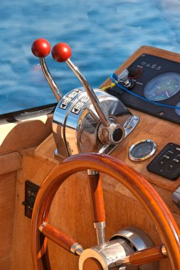 Steering wheel on boat