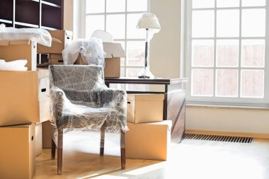 Moving boxes and furniture