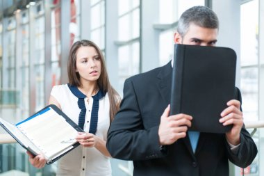 Male and female businesspeople