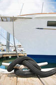 Yacht moored to a pontoon