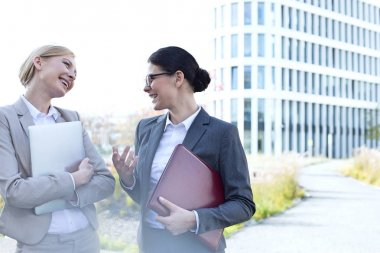 Cheerful businesswomen conversing