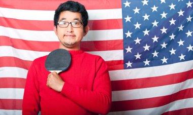 Asian Man against US Flag