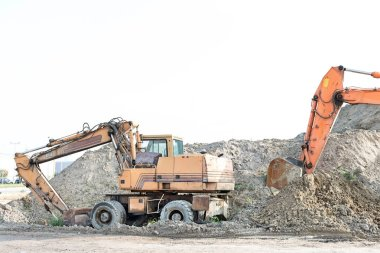 Bulldozers on construction site