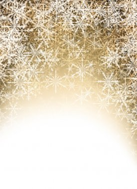Golden winter with snowflakes