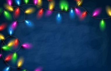 Christmas garland lights background.