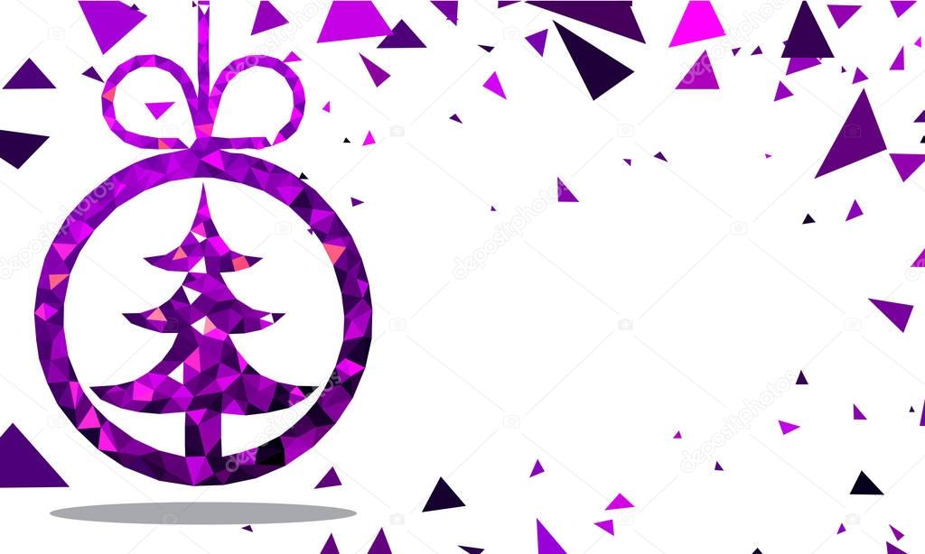 new year card with purple christmas tree stock vector 130518810