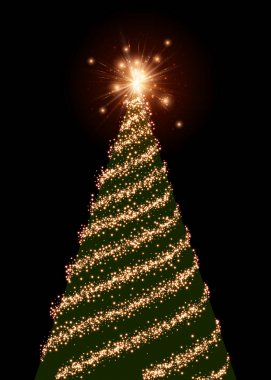 Background with green Christmas tree.