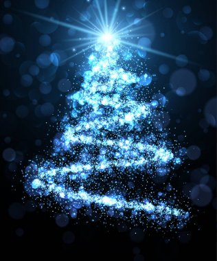 Blue background with Christmas tree.