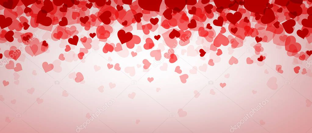 Love pink valentine's banner with hearts. Vector illustration. stock vector