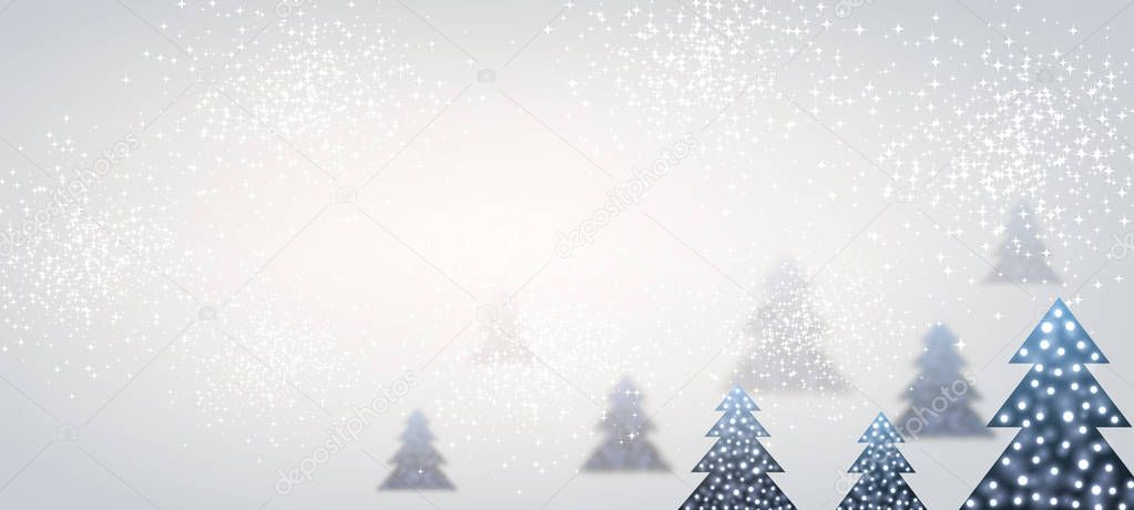New Year banner with Christmas trees.