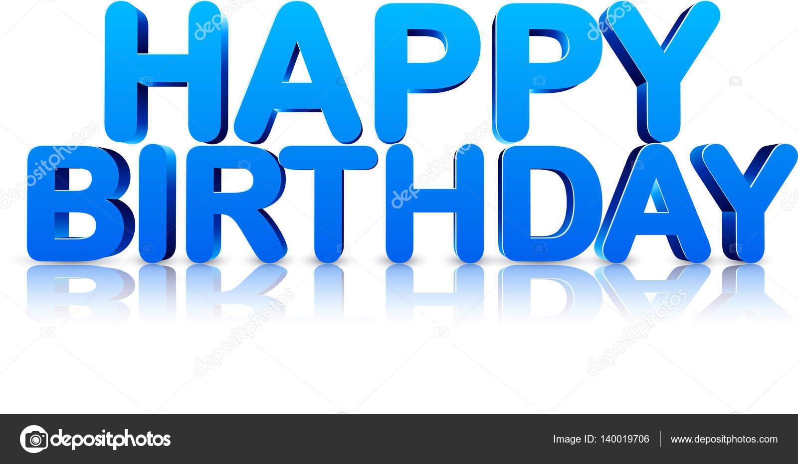Blue happy birthday 3d card. — Stock Vector © Maxborovkov ...