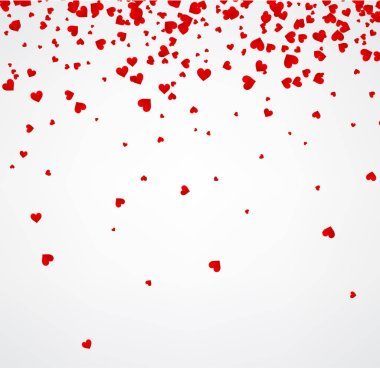 White love valentine's background with red hearts. Vector paper illustration. clip art vector