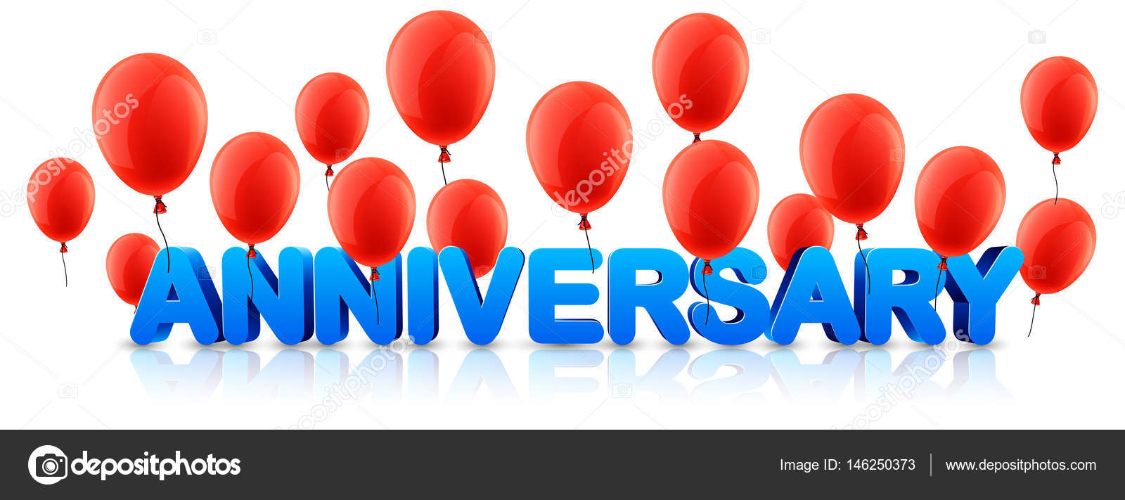anniversary banner with red balloons stock vector maxborovkov