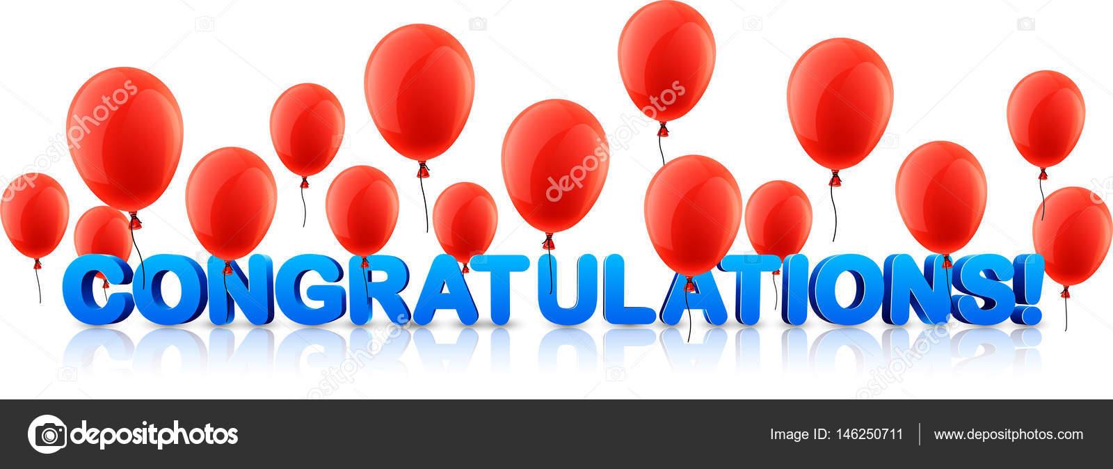 gefeliciteerd banner Gefeliciteerd banner met rode ballonnen — Stockvector  gefeliciteerd banner
