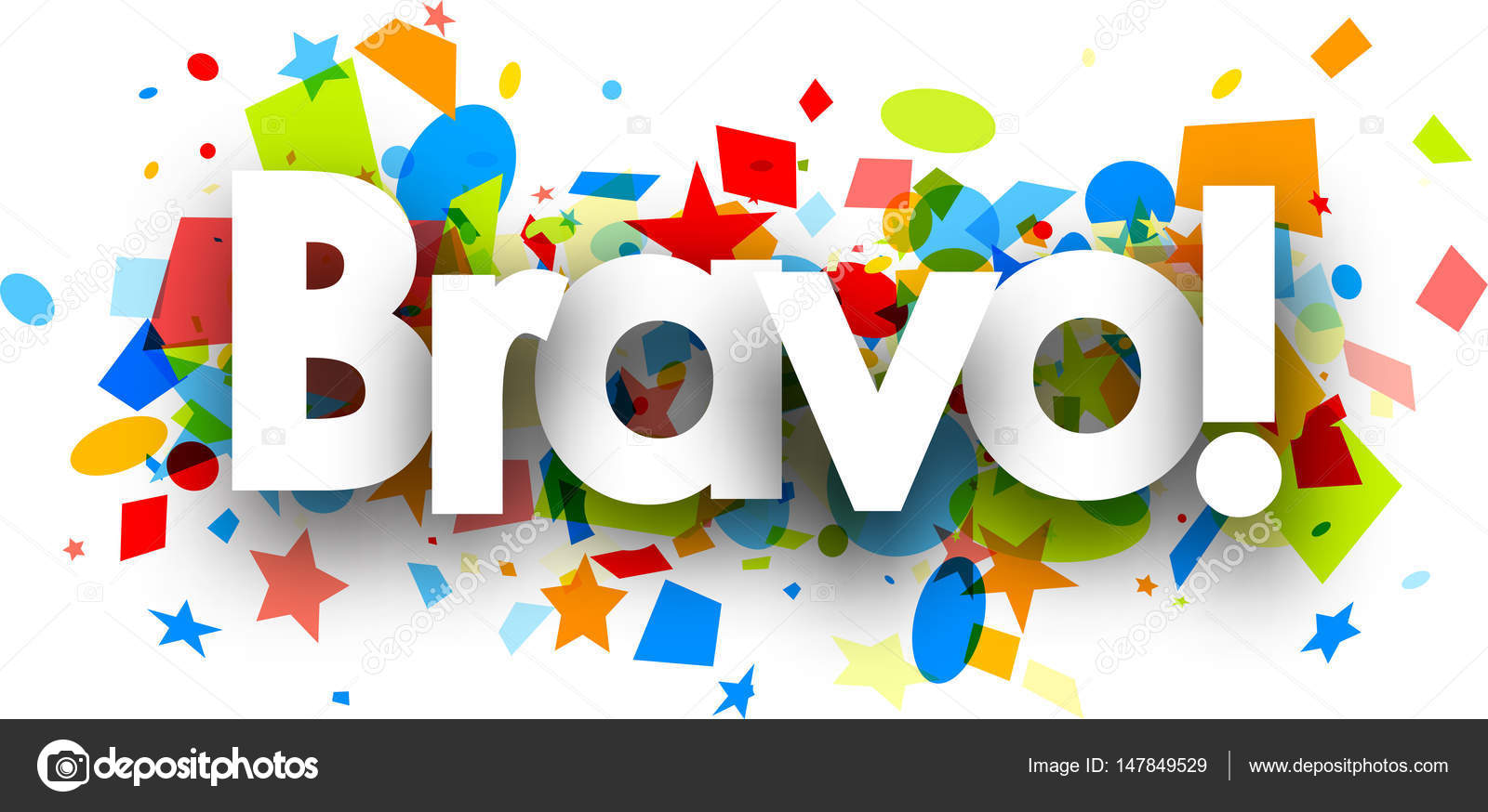 Image Bravo bravo background with colorful confetti — stock vector © maxborovkov
