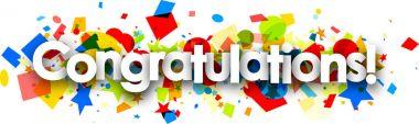 Congratulations banner with colorful confetti