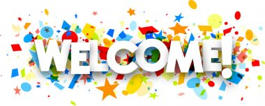 Welcome banner with colorful confetti