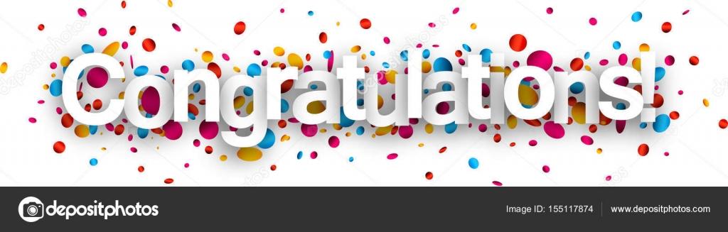 gefeliciteerd banner Gefeliciteerd papier banner met confetti — Stockvector  gefeliciteerd banner
