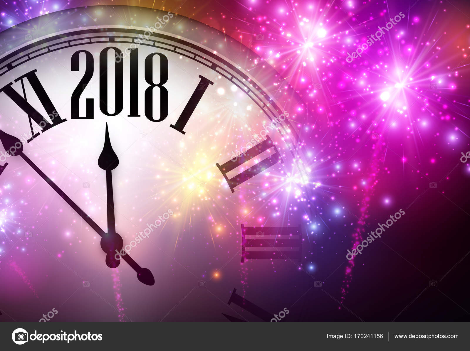 2018 new year background with clock and pink fireworks vector illustration vector by maxborovkov