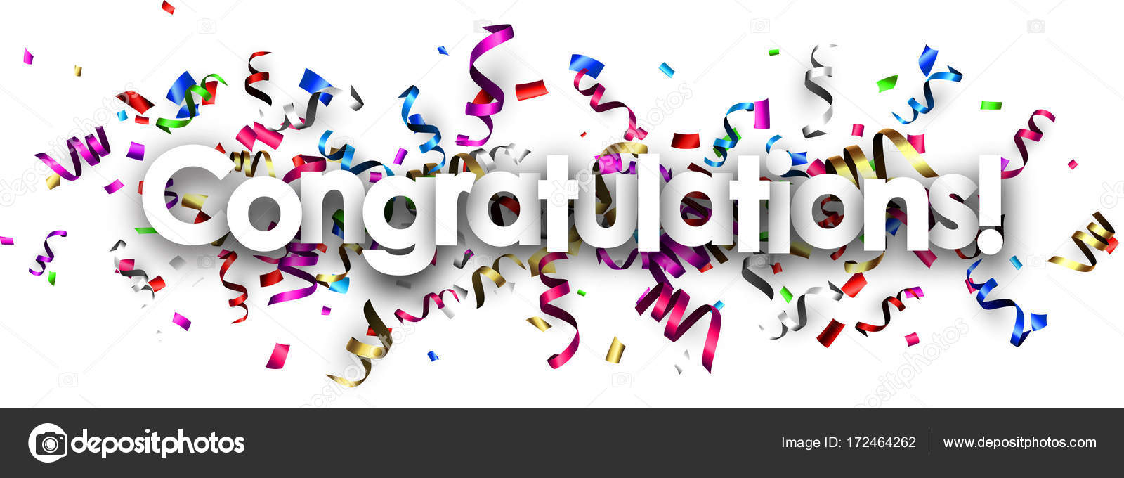 gefeliciteerd banner Gefeliciteerd banner met kleurrijke serpentine — Stockvector  gefeliciteerd banner