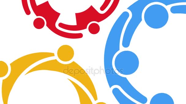 People Groups Interacting. Motion Graphic Background