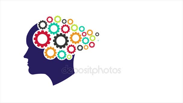 Head Gears. Abstraction of Thinking Mind, Memory Training, Psychology. Motion Graphic 1080 HD
