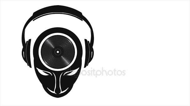 Note musicali DJ mente con cuffie e musica da ballo. Motion Graphic 1080 Hd