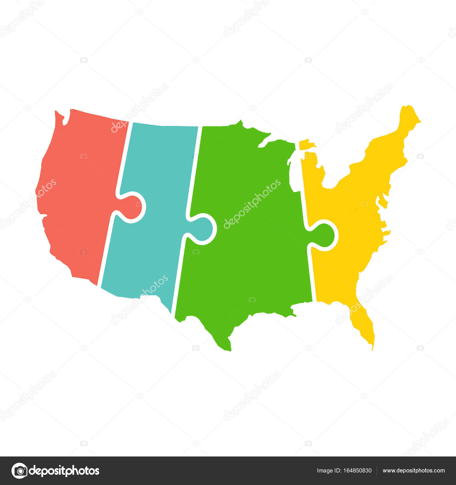 United States Map Time Zones Puzzle Vector Illustration Stock