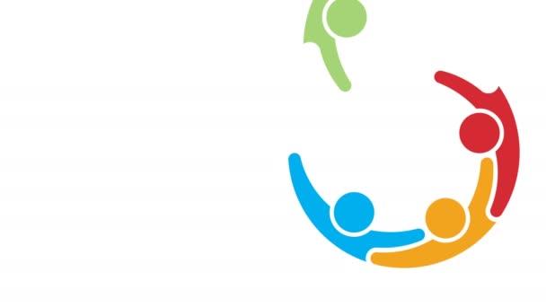 Diversity-Gruppe von Menschen trifft Logo-Animation