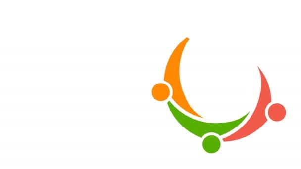 Teamarbeit-Gruppe treffen. Video Logo-Animation