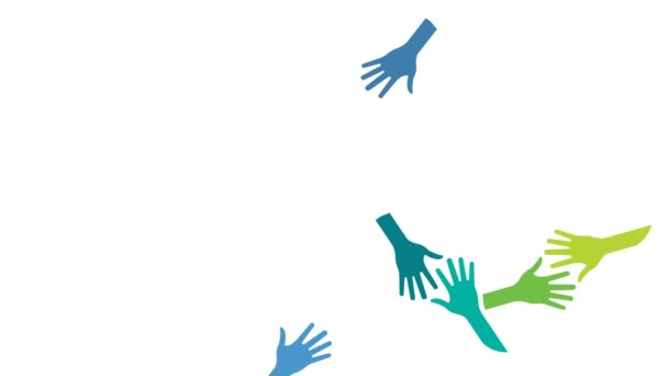 People Supported Hands out Together. Video Animation