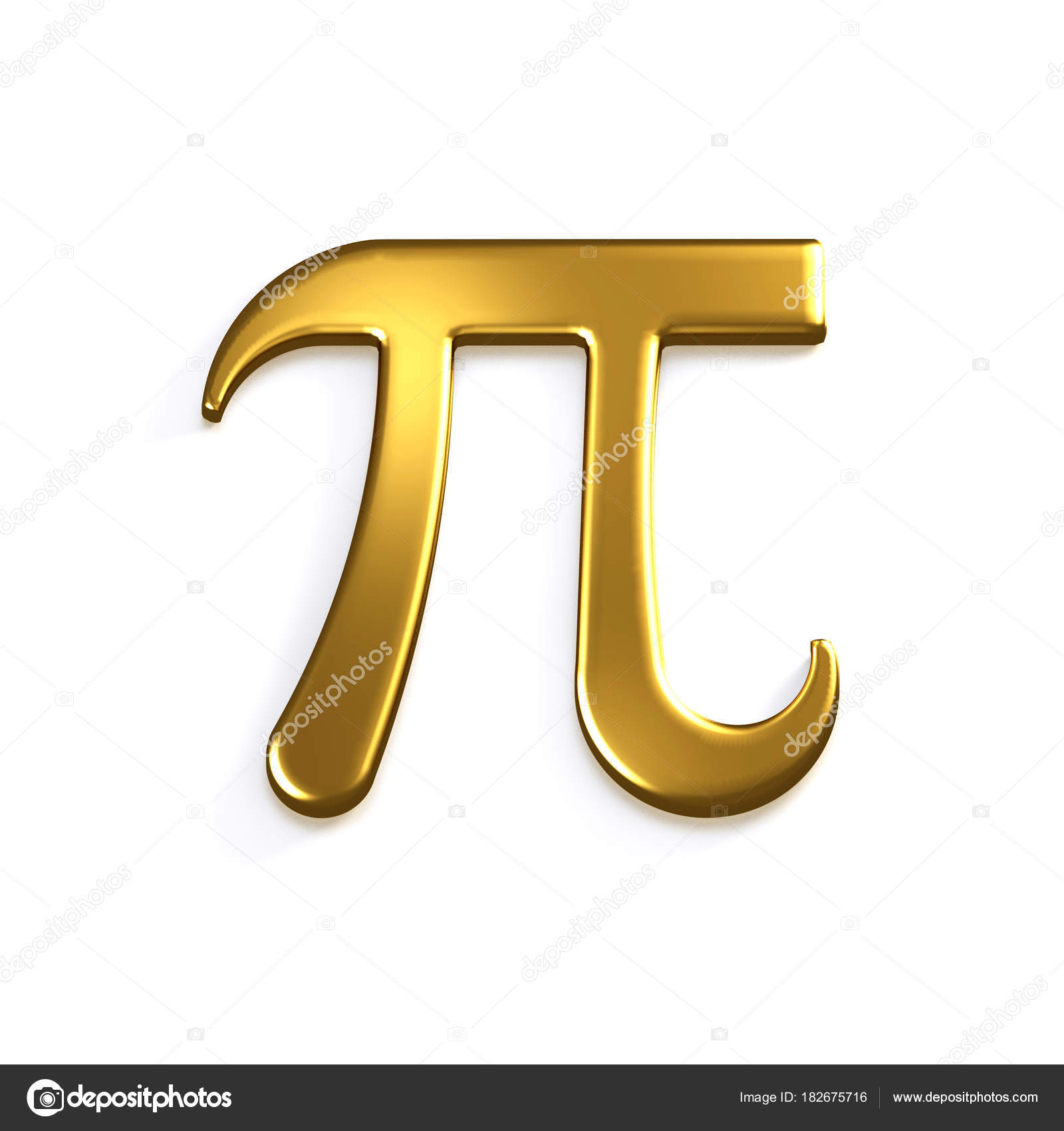 Pi Number Gold Mathematical Symbol 3d Render Illustration Stock