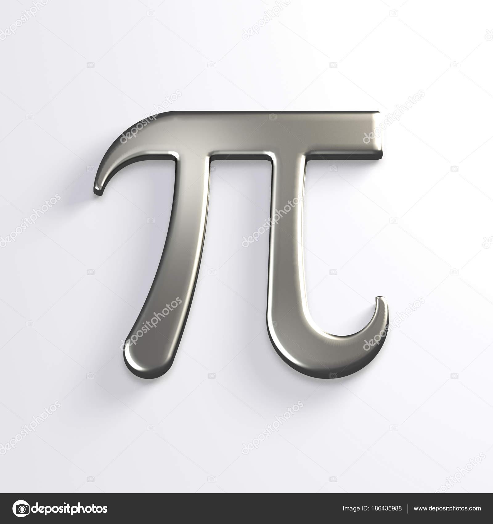 Pi Number Silver Mathematical Symbol 3d Render Illustration Stock