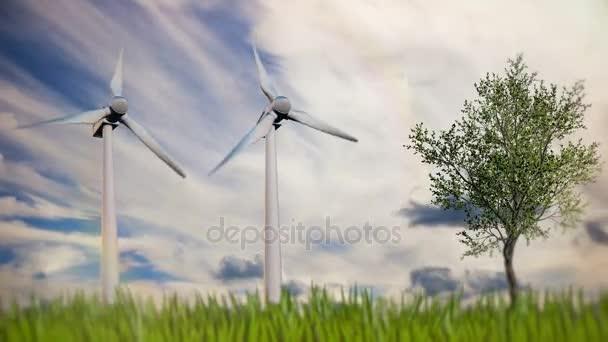 Zöld megújuló energia koncepció - generátor szélturbinák ég