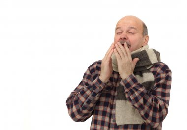 Elderly man is ill from colds or pneumonia.