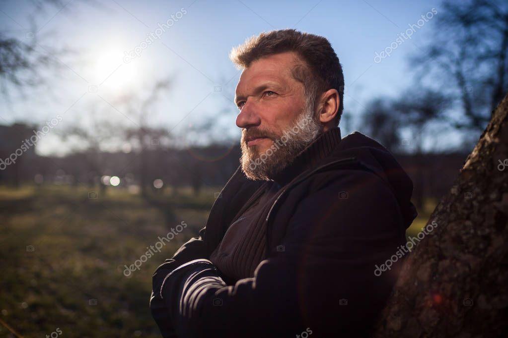 Portrait of a mature man in park