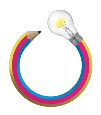 Creative pencil with a light bulb.