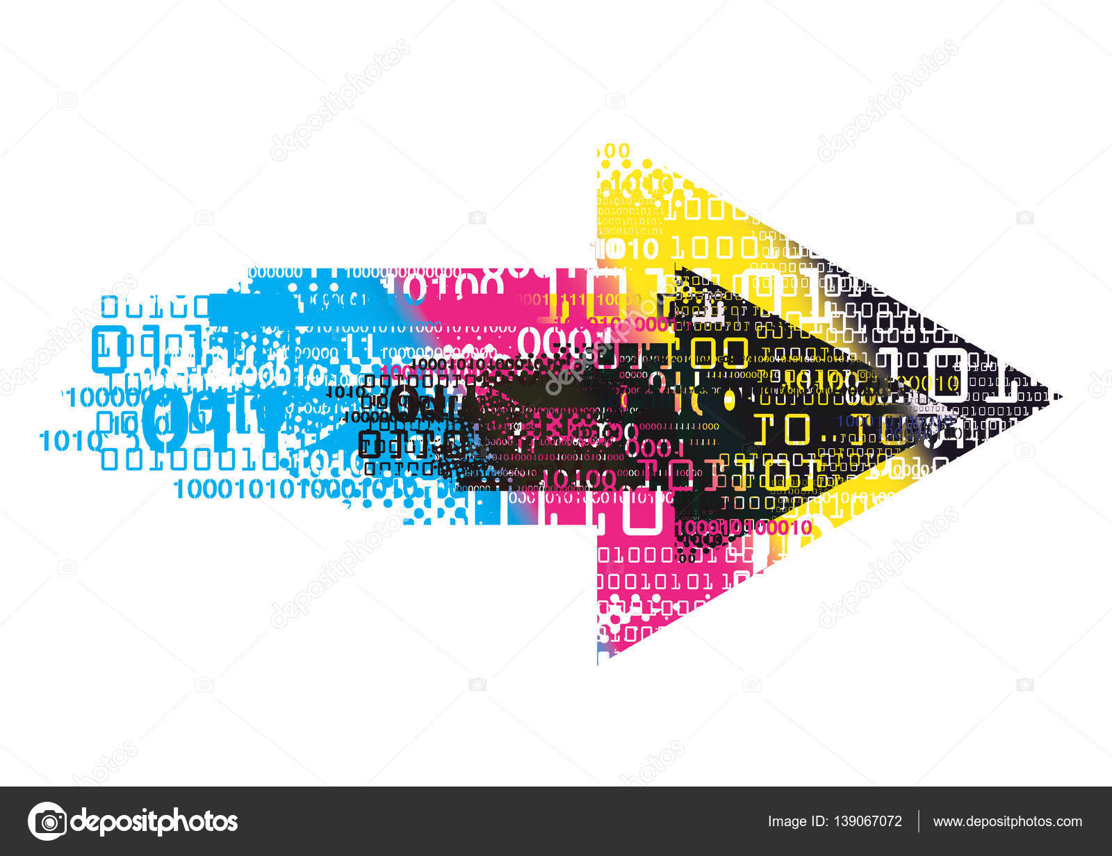 Cmyk Colors Arrow With Binary Codes — Stock Vector © chachar