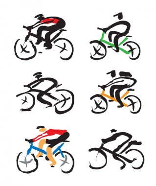 Set of Cyclist ink drawings.