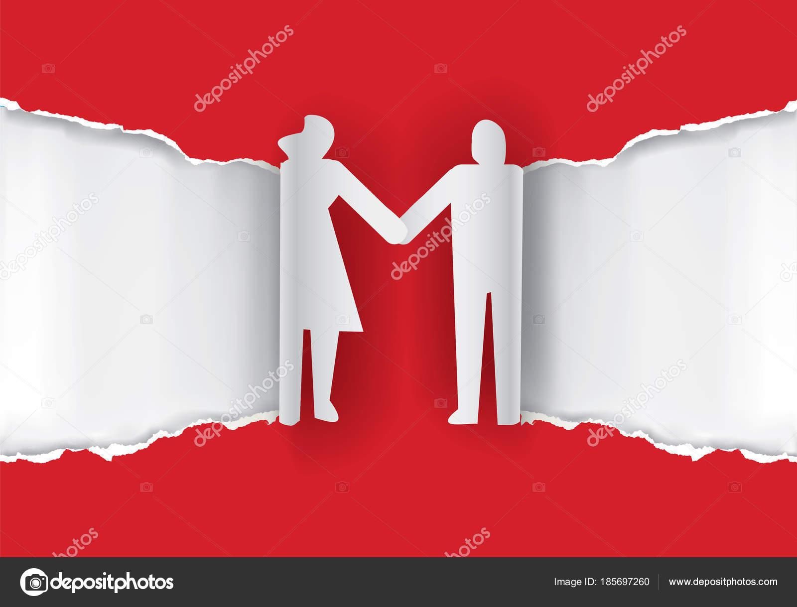 Hochzeit Paar Silhouette Auf Zerrissenes Papier Papierhintergrund