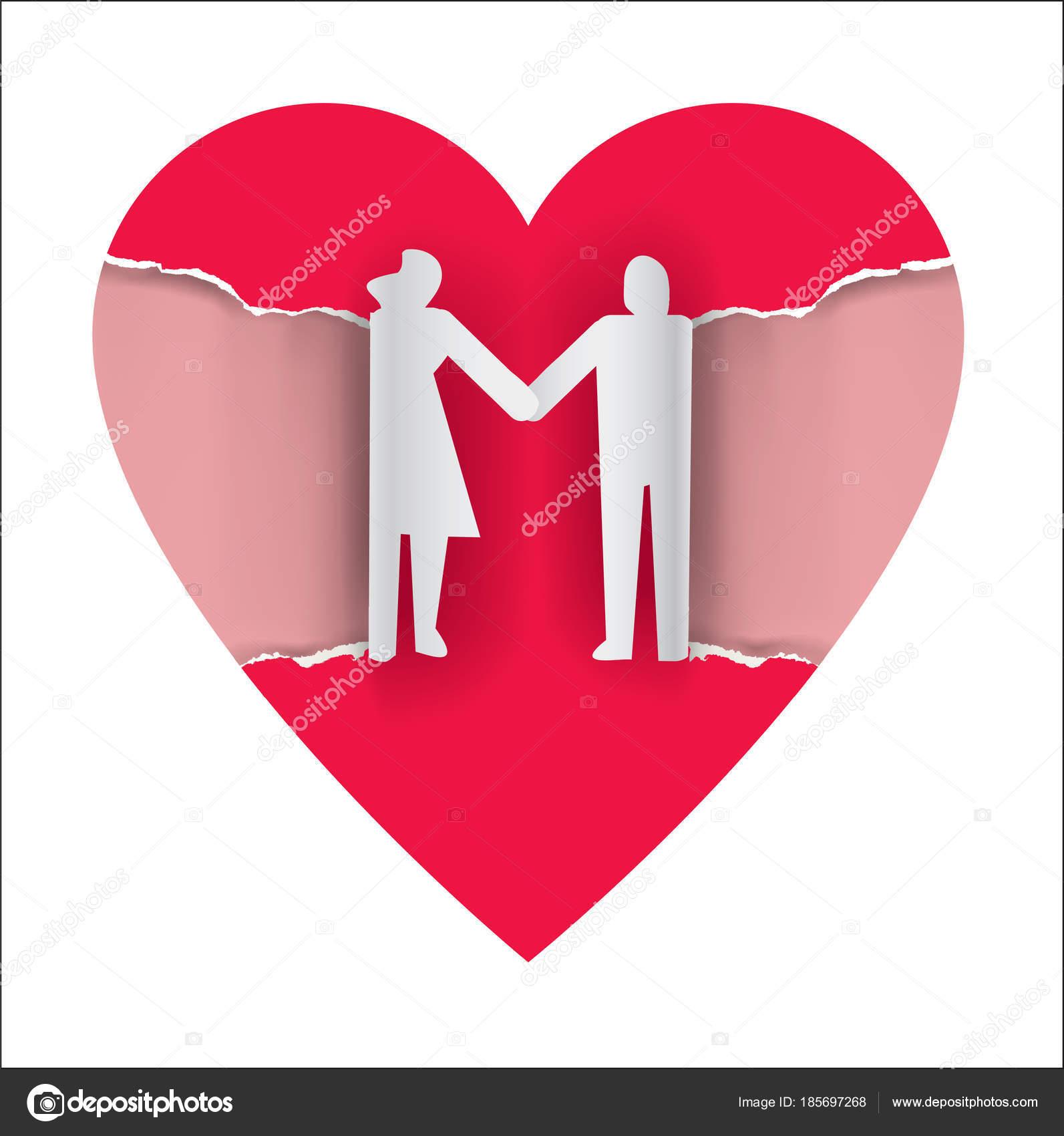 Liebende Paar Silhouette Auf Riss Papierherz Papierhintergrund Mit