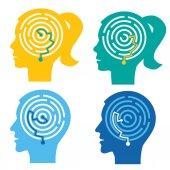 Fotografia Test psicologico, labirinto nelle teste. Quattro maschi e femmine stilizzato testa sagome con labirinto. Concetto che simboleggia il processo di pensiero. Vettore disponibile