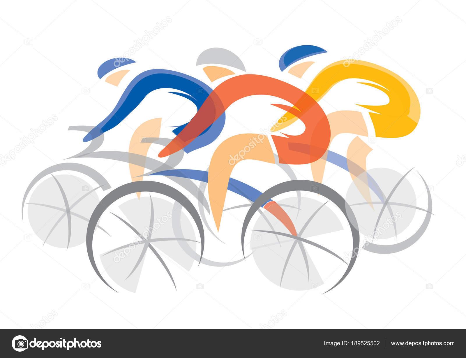 Concorrenti Bicicletta Road Tre Ciclisti Illustrazione Stilizzata