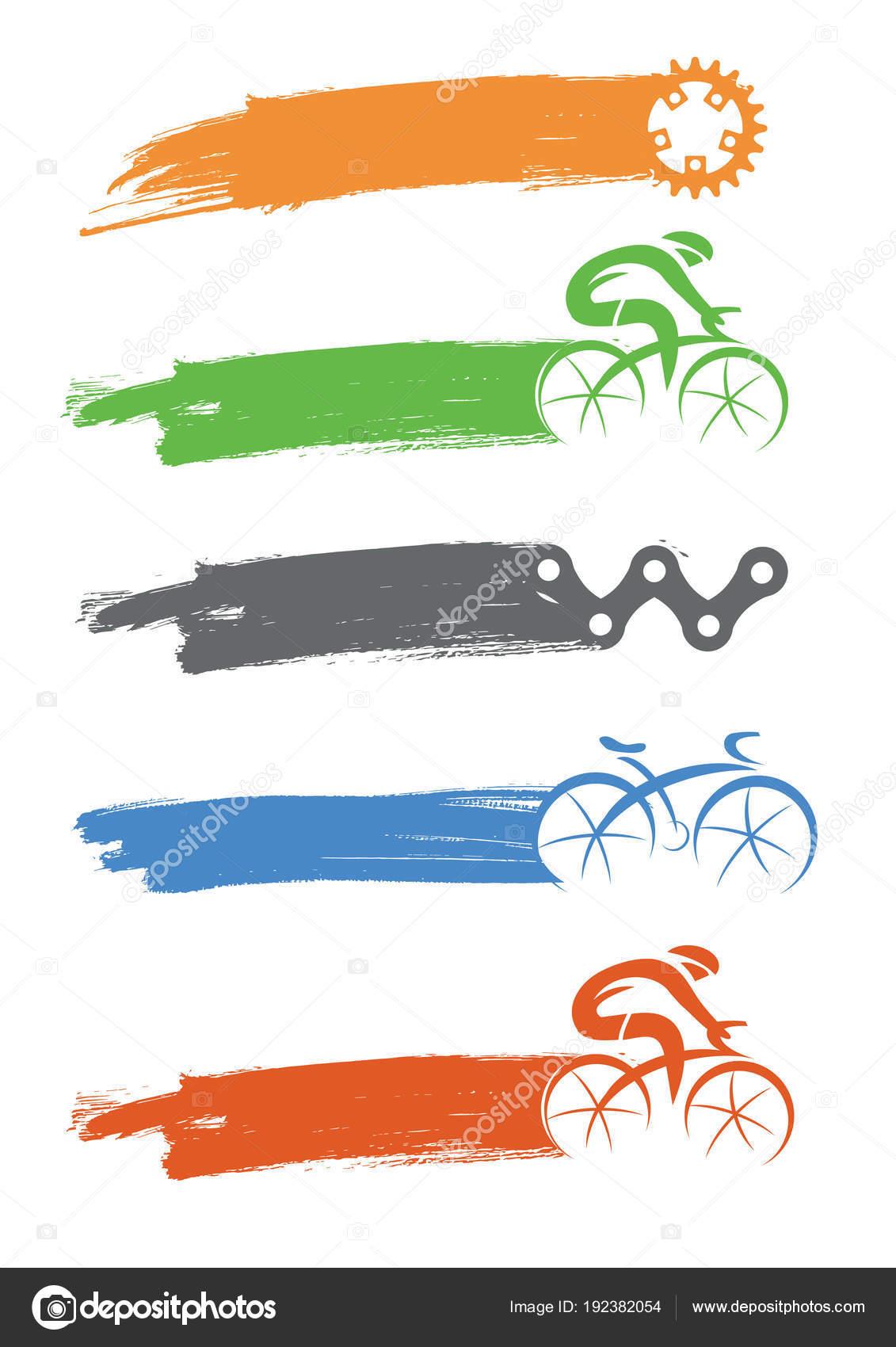 Radfahrer und Fahrrad Komponenten Symbole mit Pinselstrich ...