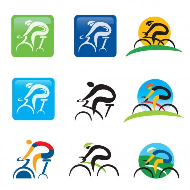 Spinning cycling icons buttons.Set of colorful cycling and spining icons and web buttons. Vector available.