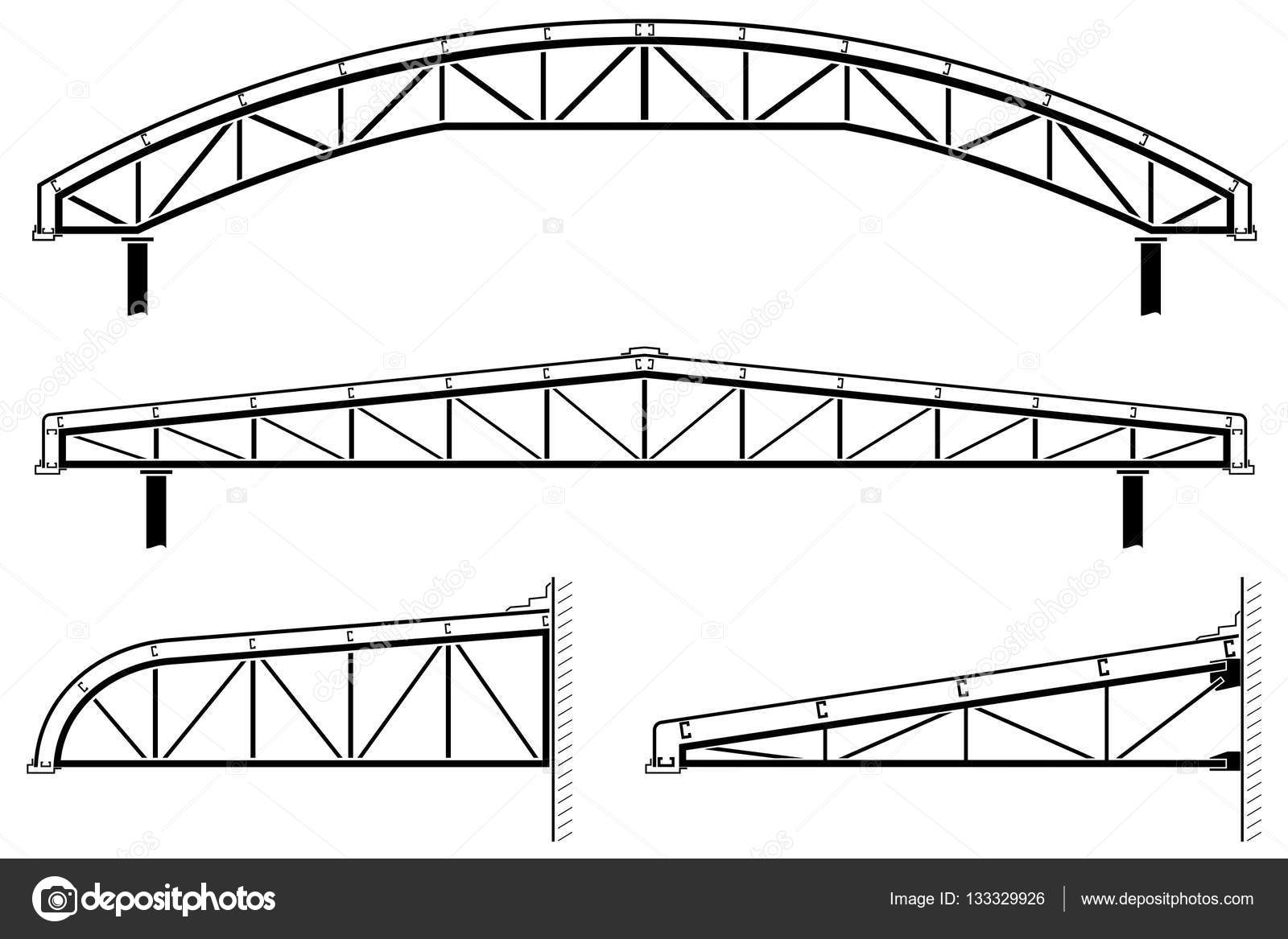 Roofing building,steel frame,roof truss collection, vector ...