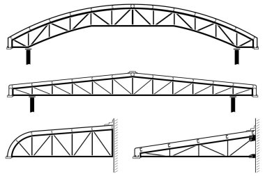 Roofing building,steel frame,roof truss collection, vector illustration